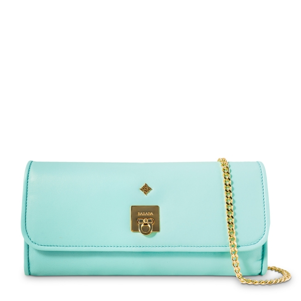 Clutch Bag Fiesta collection in Nappa leather im aqua color