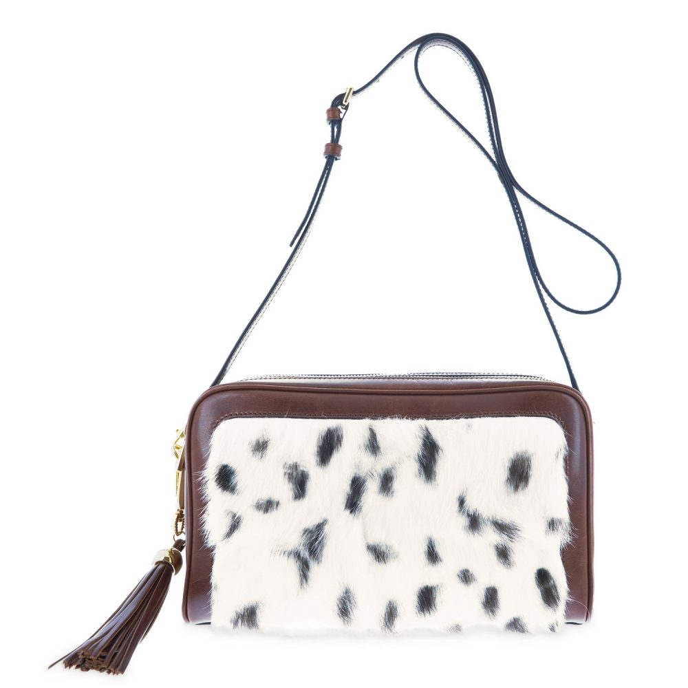 Shoulder bag from Achlys collection in Rabbit fur with spots