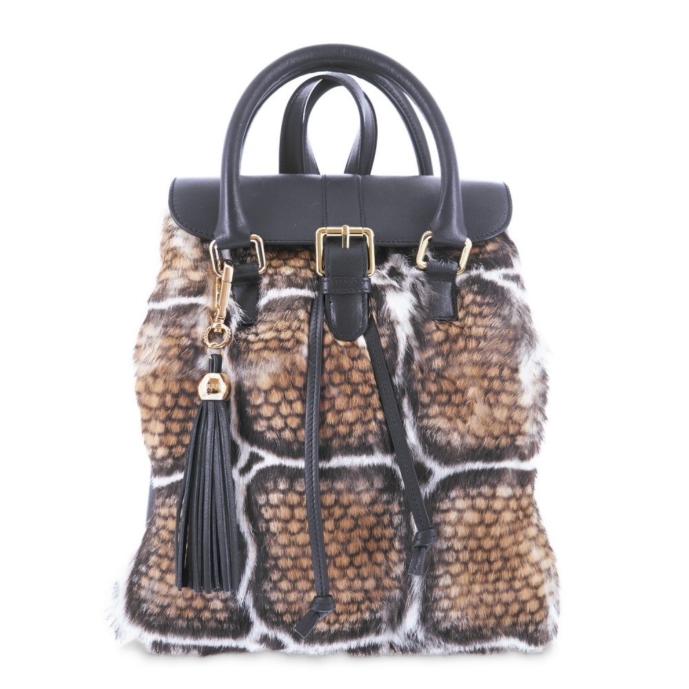 Mochila from Alida collection in Calf and rabbit fur