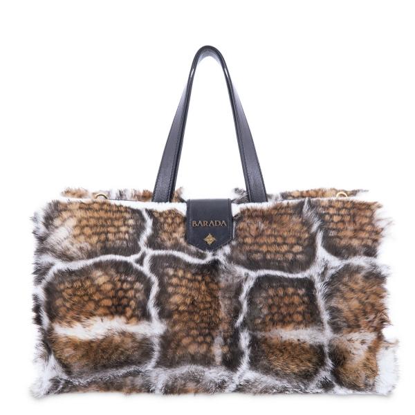 Convertible handbag from Alida collection in Calf and rabbit fur