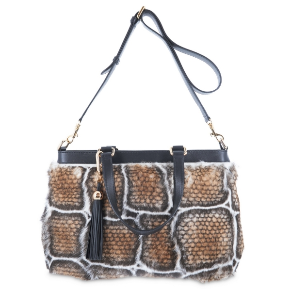 Medium Tote from Alida collection in Calf and rabbit fur