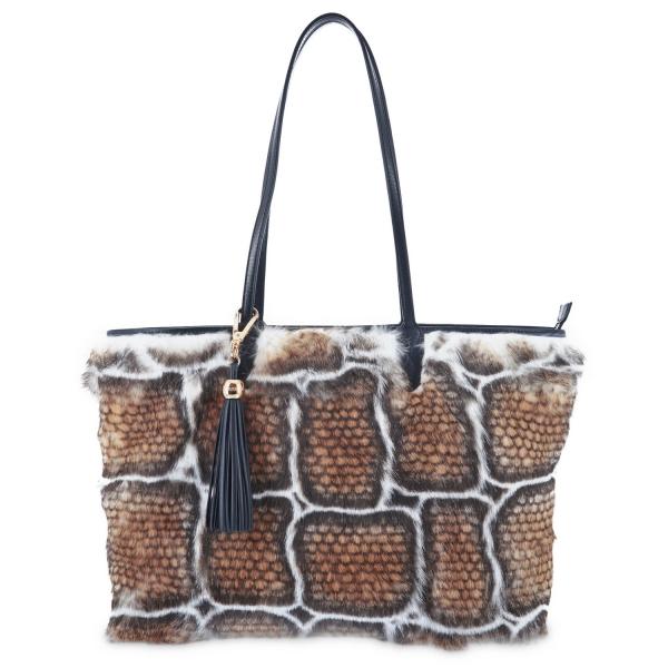 Tote - Shopping handbag from Alida collection in Calf and rabbit fur