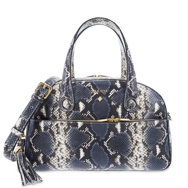 Satchel bag from Alysa collection in Calf Python print