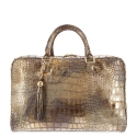 Soft Briefcase from Moira collection in Calf Croc print metallic finishing