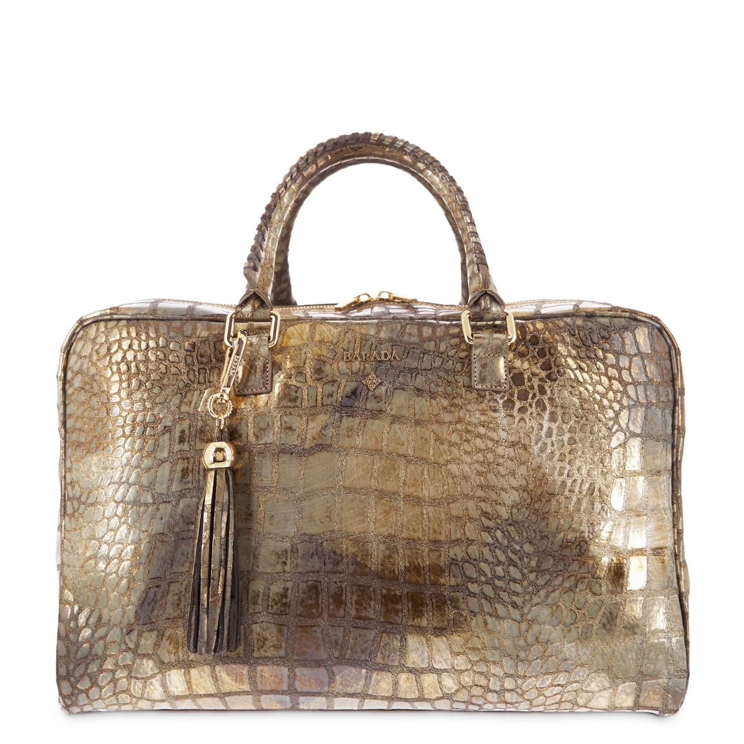 soft briefcase from moira collection in calf croc print metallic