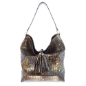 Hobbo bag from Moira collection in Calf Croc print metallic finishing