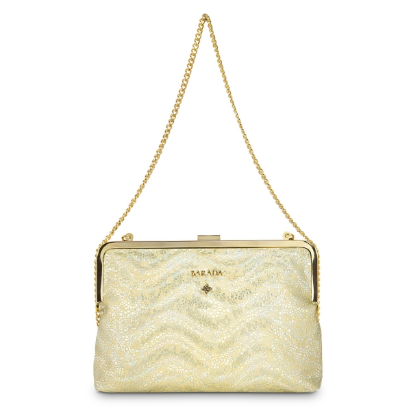 Bolso Clutch de Broche Colección Dama Blanca en Piel Cordero